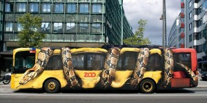 The Copenhagen Zoo used a 3D vehicle wrap to turn this bus into a work of art.
