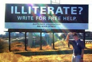 illiterate? write for free help sign