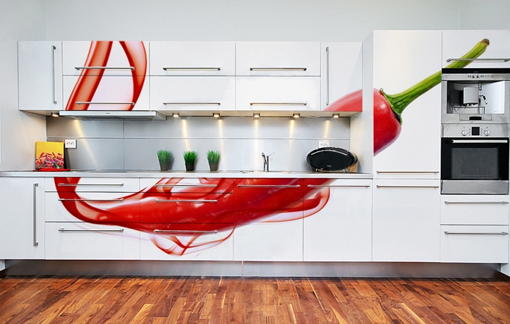 Gorgeous Kitchen Modern Cabinets Edgy and Cozy Chili Red Luxury Home Wall Murals