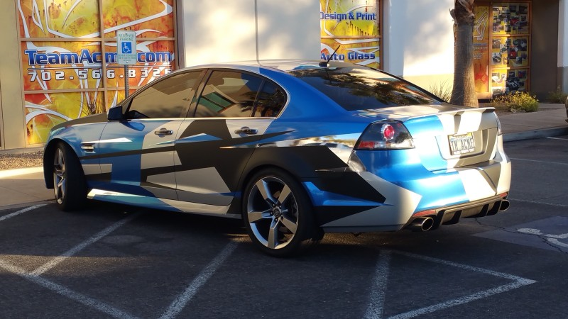 G8 vehicle wrap with blue, chrome, matte black (7)