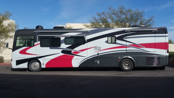 Motorhome wrap over bad paint matte vehicle wrap (2)